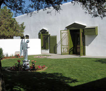 Courtyard with angel statue.