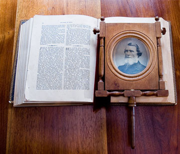 Magnifier on a book.