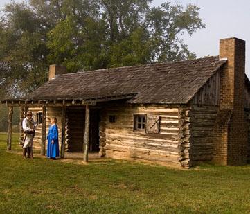 The replica log cabin.