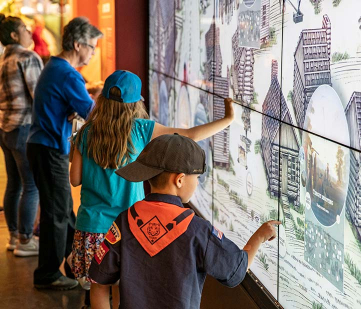 Visitors using interactive wall