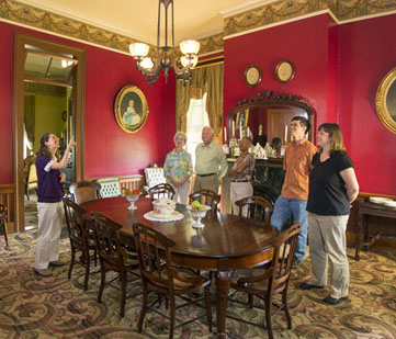 Visitor get a tour of the dining room.