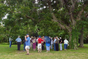 Visitors on a tour of the site.